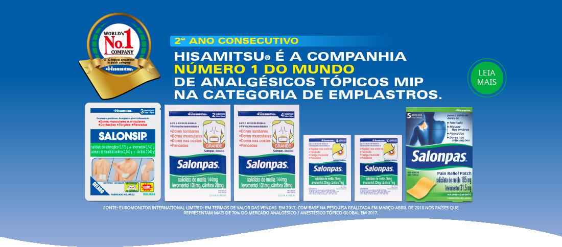 Hisamitsu® é a companhia número 1 do mundo de analgésicos tópicos MIP na categoria de emplastros. Pelo segundo ano consecutivo!